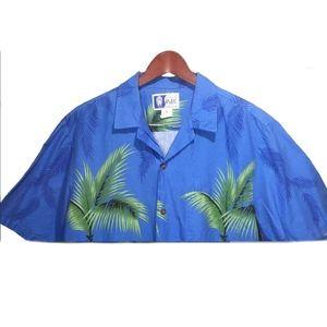 RJC Blue Green Red Hawaiian Shirt Size L